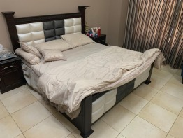 King size bed with Mattress, Dresser with attached mirror and Night table (all together or separate)