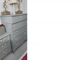 Beautiful bed with american side tables chest drawer