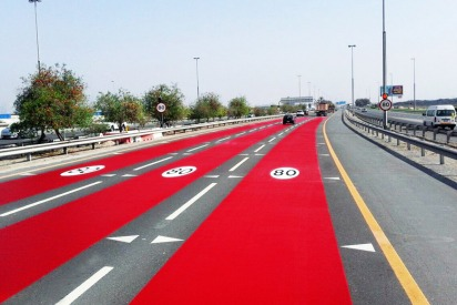 Dubai's Roads Will Be Painted Red to Show Speed Limit Changes