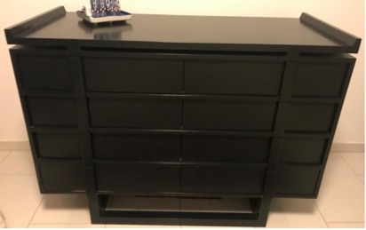 Kelly Hoppen Black lacquered wood chest of drawers - Harvey Nicholas ( 8 chest drawers).