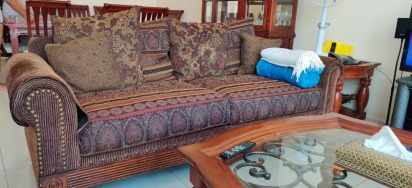 Sturdy brown large sofas (3 seater + 2 seaters x2)