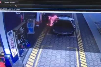 Watch: Abu Dhabi Petrol Attendants Battle a Supercar in Flames