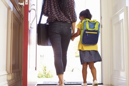 Student with mother going to school