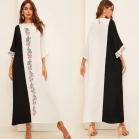 Botanical Embroidered Bell Sleeve Two Tone Abaya Dress