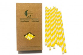 Yellow Stripes Environment Friendly Paper Straws