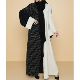 Hindam Black and Beige Colour Block Embroidered Abaya