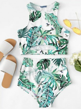 Palm Leaf Print Cut Out Top With High Waist Tankini