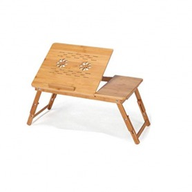 Portable Folding Bamboo Laptop Table Sofa Bed Office Laptop Stand Desk with Fan 15 inches