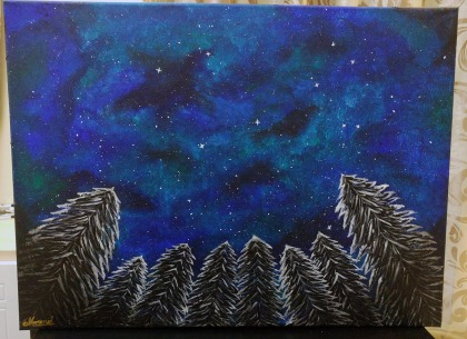 Hand painted painting - Look Up