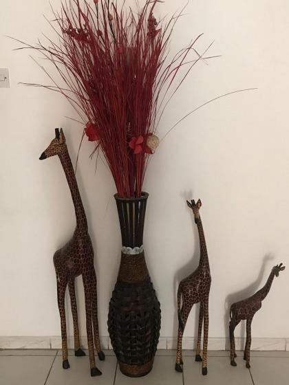 Set of wooden giraffe family