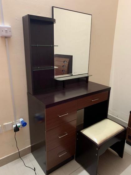 Complete Bedroom Set - Bed, side table, dresser, mattress, cubpoard
