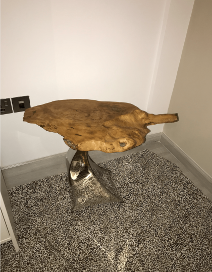 Wood Table on steel stand