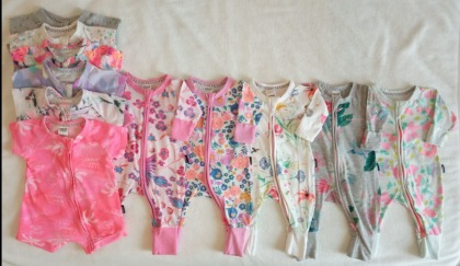 11x Bonds baby girl Wondersuits & Rompers bundle newborn & 0-3mnth