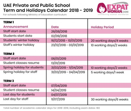 UAE School Term and Holiday Dates for 2018-2019   ExpatWoman com